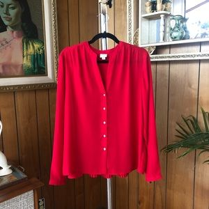 A New Day Red Accordion Swing Blouse